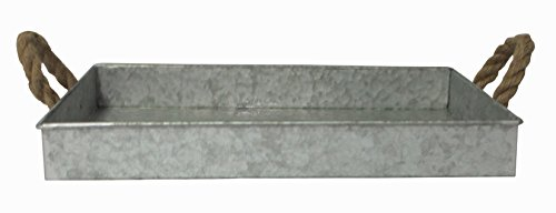 Cheung's FP-3744 Galvanized Metal Rectangular Tray with Rope Handle