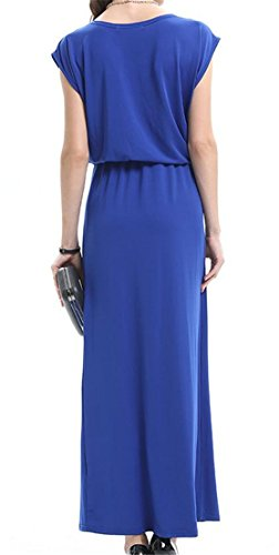 Summer Round Blue Women's Cromoncent Dress Neck Sleeve Short Casual High Wasit E8Rqwv4f