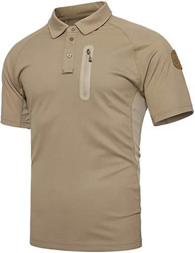 TACVASEN Homme Outdoor T-Shirt Respirant Randonnée décontractée Chemise de Sport avec Poche zippée 1