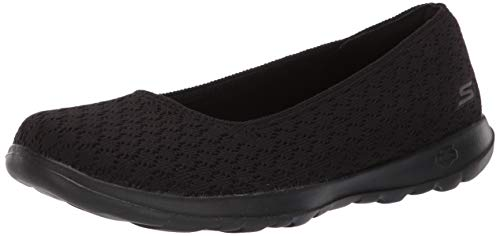 Skechers Women's GO Walk LITE-15386 Ballet Flat Black 9.5 M US