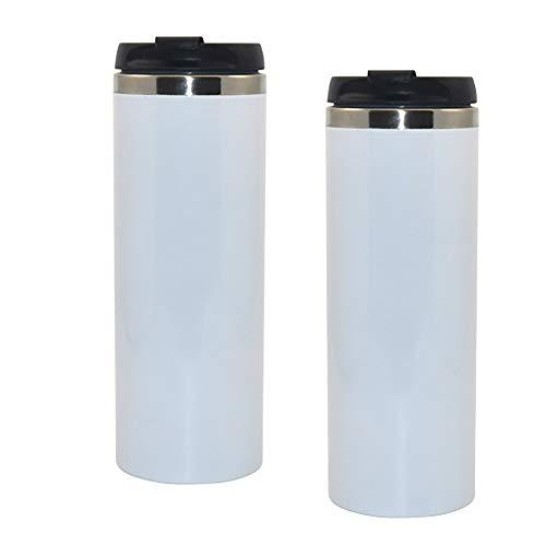 2 Pack Sublimation 14oz White Travel Mug Stainless Steel Blank Tumbler for Dye Sublimation Heat Press Transfer Blanks