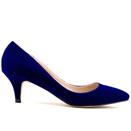 Mouth Talon Pointu Couleur Chaussures Solide Femme bas Xianshu Talon Bleu Pompes de Haut Hq54Z4xw