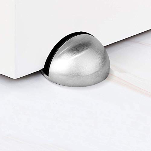 TPOHH Stainless Steel Half Dome Floor Door Stopper, Brushed Nickel Doorstop Double-Sided Adhesive No Need to Drill Dome Floor Door Stop