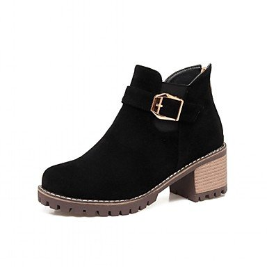 Buckle Winter Boots Casual Fashion Leatherette CN38 amp;Amp; Booties Spring 5 Round US7 RTRY UK5 Office EU38 Shoes Chunky For Boots Toe 5 Heel Women'S Boots Career Ankle TqwYWZI