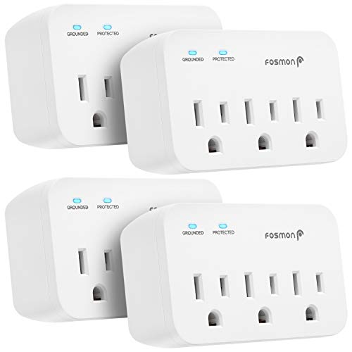 Fosmon 3 Outlet Surge Protector (4 Pack), 1200J Wall Mount Multi Plug Adapter Tap Extender, 1875 Watts Portable Travel Size for Indoor, Office, Dorm Room Essential, Grounded, ETL Listed