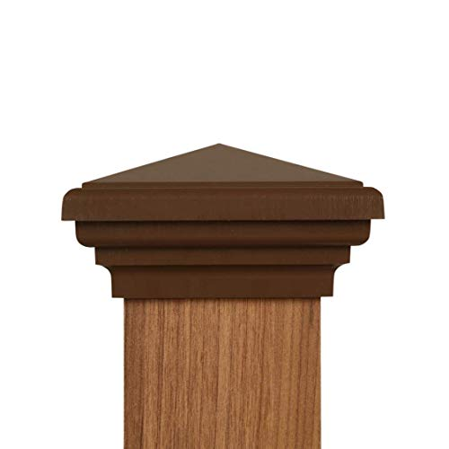 """4x4 Post Cap (3.5"""" x 3.5"""") - Brown Pyramid Top (Case of 12) - With 10 Year Warranty"""