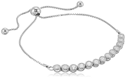 925 Sterling Silver Bezel Set AAA Cubic Zirconia Adjustable Slider Bracelet (1.43 cttw)