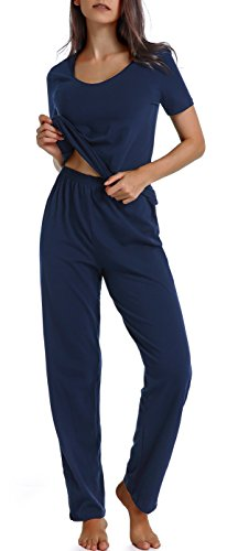 (Chamllymers Women's Cotton Sleepwear Short Sleeve Pajamas Sets with Pants Navy M )