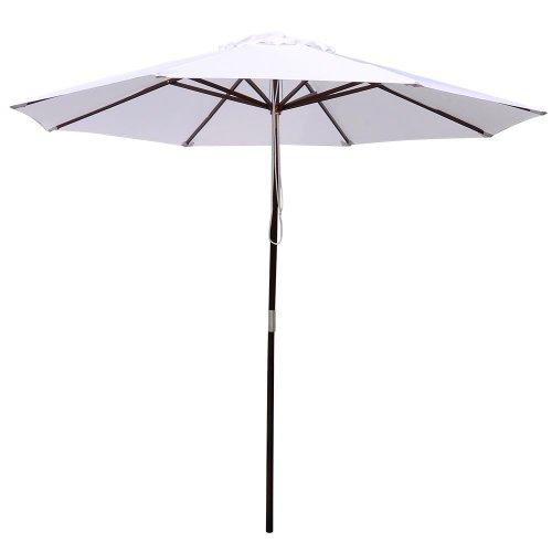 9 ft. Backyard Patio Outdoor Furinture Wooden Market Umbrella WHITE 7 Wooden Market Umbrella