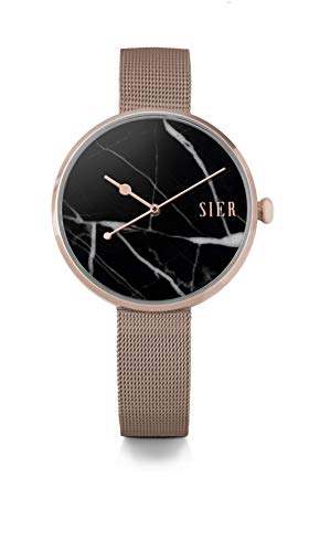 SIER Stone Wrist Watches by JORD for Women - Arcadia Series/Stone and Metal Watch/Leather and Metal Mesh Band/Analog Quartz Movement - Includes Watch Box (Rose Gold & Marquina Marble)