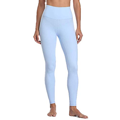 JOFOW Leggings for Women Solid Basic Special Color Ruched Butt Casual Skinny Stretch High Waist Workout Long Sport Yoga Pants (L,Light Blue)