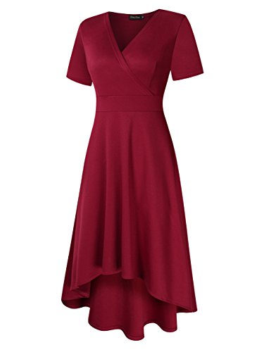 new styles 0e5fc 68426 Vorne Knielang Weinrot Taillenbetontes Vintage Kleid ...