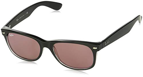 Ray-Ban RB2132 New Wayfarer Sunglasses, Black & Transparent/Violet Photochromic, 55 mm (Ray Lenses Ban)