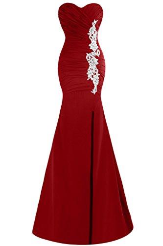 Schlitz Damen Weinrot Mermaid Promkleid Festkleid Abendkleid Ausschnitt Herz Ivydressing Applikation dPXqwFZZ