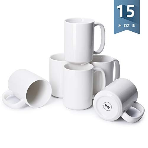 Sweese 608.001 Porcelain Mugs Set, 15 Ounce Large Handle Mugs, Set of 6, White (No White Handle Mug)