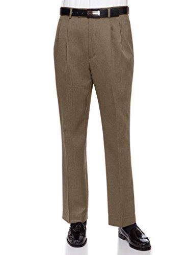 RGM Mens Dress Pants, Formal and Work Slacks For Men – Pleated Front Cuffed Hem Dark Loden 33 Short -