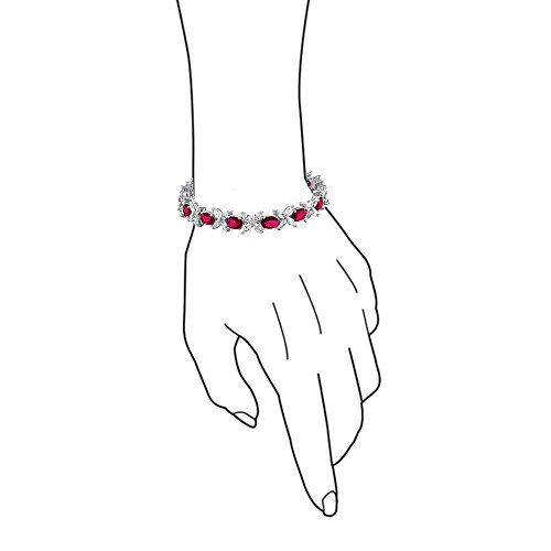 Bling Jewelry Marquise Oval AAA CZ Tennis Bracelet for Women Simulated Emerald Or Simulated Ruby Cubic Zirconia Silver Plated Brass