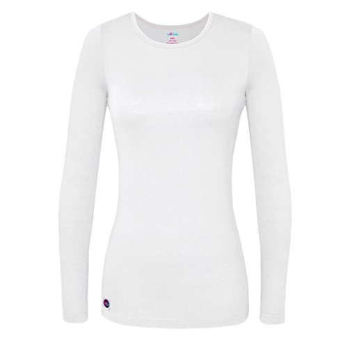 (Sivvan Women's Comfort Long Sleeve T-Shirt/Underscrub Tee - S8500 - White - X-Large)