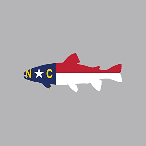 North Carolina State Shaped Trout Sticker FA Graphix Vinyl Decal NC fly fishing fish (State Car North Carolina)