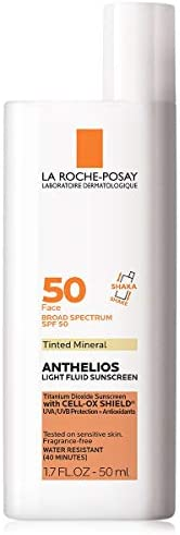 La Roche-Posay Anthelios Tinted Mineral Ultra-Light Fluid Broad Spectrum SPF 50, Face Sunscreen with Titanium