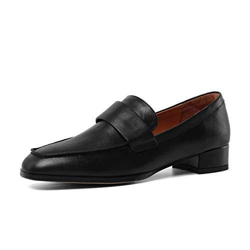 ONEENO Womens Slips On Black Leather Penny Loafers Size 8.5 ()