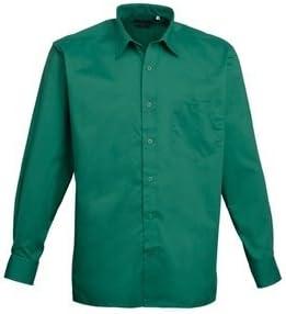 MAKZ Premier Ropa de trabajo hombre negocio hospitalidad Barwear Manga Larga Popelina camisa, envío gratuito Verde verde esmeralda 18: Amazon.es: Ropa y accesorios