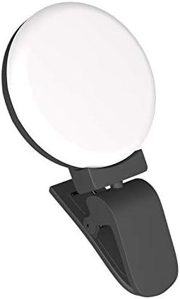 DFYYQ LED Ring Light for Phone Big Clip Round Fill Light 3 Light Color USB Charging Selfie Light Flashes Color : Black