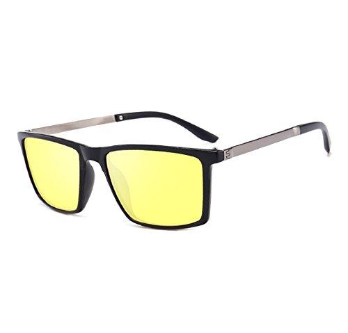Jaune conduite protection rétro carrées UV400 de Noir miroir soleil Lunettes Worclub classiques polarisée neutre Oaxwzwfq