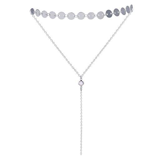 Sedmart Silver Adjustable Layered Necklace