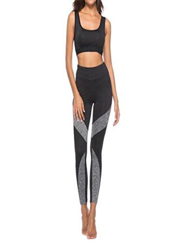 Yoga Pants For Womens, FORUU New Stitching Leggings Casual Sport Pencil Trousers (M, Black) -