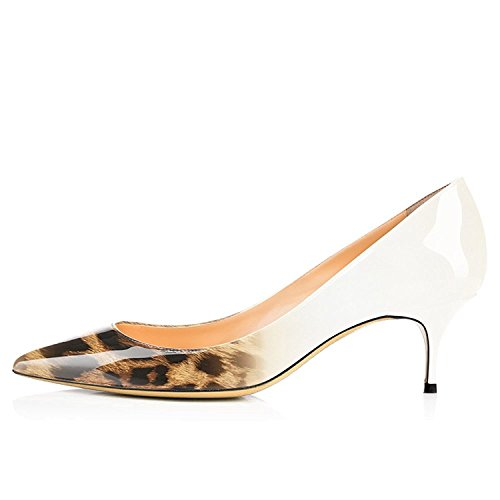 Pumps Toe Shoes Leopard Slip Lovirs Kitten On 5CM Patent Office Pointed Leather 6 Heels white Womens PBvPgqYwf
