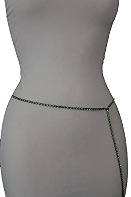 TFJ Women Fashion Metal Belt Thin Hip High Waist Belly Chain Beads Xs S M Green