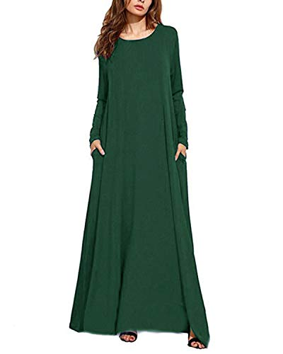 (Kidsform Women Maxi Dress Long Sleeve Casual Loose Kaftan Party Long Dresses with Pockets Green M)