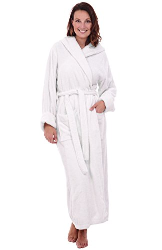 (Alexander Del Rossa Womens Turkish Terry Cloth Robe, Long Cotton Hooded Bathrobe, Large XL White (A0127WWHXL))