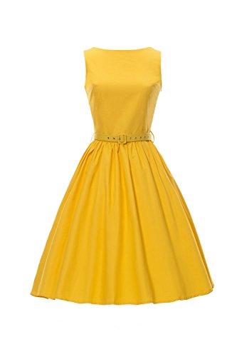 iLover Klassische 50er Audrey Hepburn Boot Ausschnitt black Schwingen Retro Weinlese Kleid