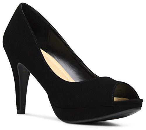 AFFORDABLE FOOTWEAR Women's Peep Toe High Heels Dress Shoes Memory Foam Cushion Comfort Pumps - (Black NBPU) - 7 ()