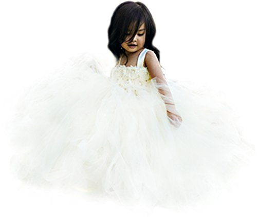 Little Girls' Puffy Flower Girl Tutu Dresses 2 Rows 3D Rose Flowers with Tied Bow at Back, 4T, Ivory