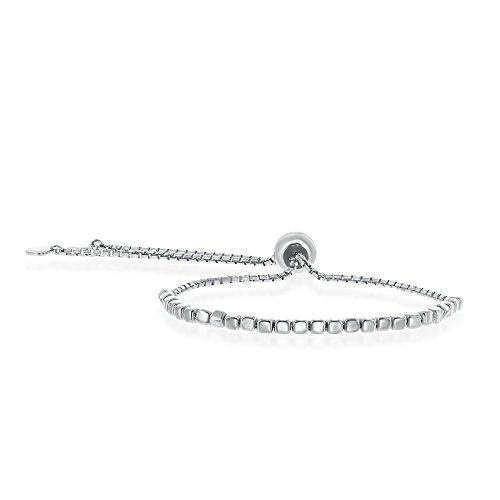 Sterling Silver Italian Adjustable Bolo Square Bead Adjustable Bracelet w/ Dangling Heart Charms
