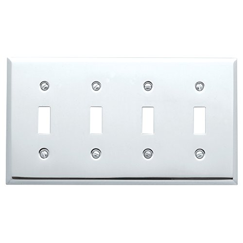 Baldwin Estate 4772.260.CD Square Beveled Edge Quad Toggle Switch Wall Plate in Polished Chrome, ()