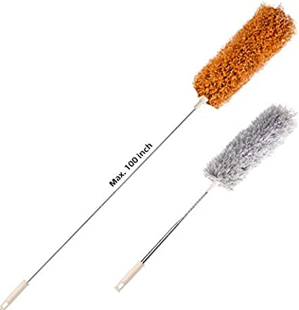 ,100 inches with Bendable Head Stainless Steel Extendable Duster for Cleaning Ceiling Fan Furniture /& Cobweb Red Keyboard Microfiber Duster with Extension Pole High Ceiling