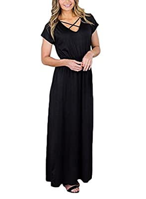 HOTAPEI Women Short Sleeve Criss Cross V Neck Long Maxi Casual Dress with Pockets