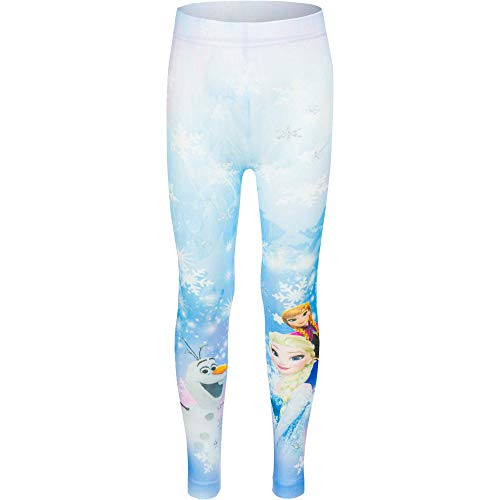 Disney Frozen Anna Elsa Princess Girls Leggings (6-7 Years (116-122 cm)) Blue ()