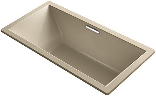 Bubblemassage Bathtub - KOHLER K-1835-GVB-33 Underscore Drop-In VibrAcoustic Plus BubbleMassage Air Bath with Center Drain, 72 x 36-Inch, Mexican Sand