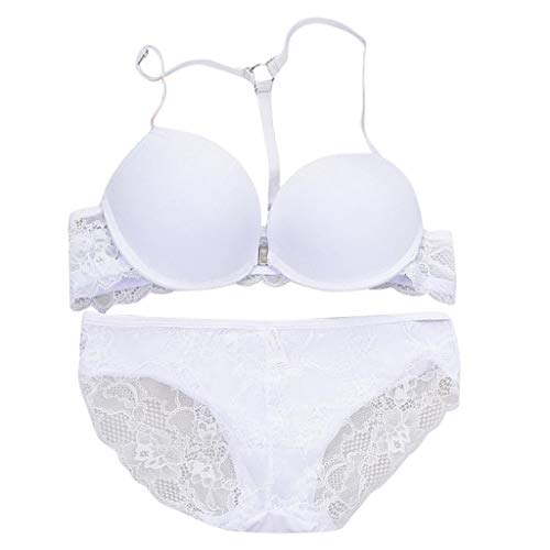 Women Sexy Lingerie Set, Lace Lingerie Babydoll Chemise Bra and Panties Underwear Set White