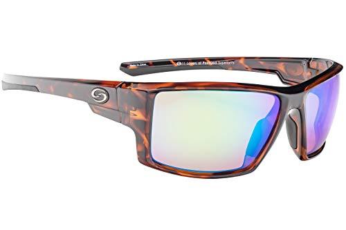 (Strike King S11 Pickwick Polarized Sunglasses, UVA/UVB Protection, Shiny Tortoiseshell Frame, Multi Layer Green Mirror Amber Base Lens)
