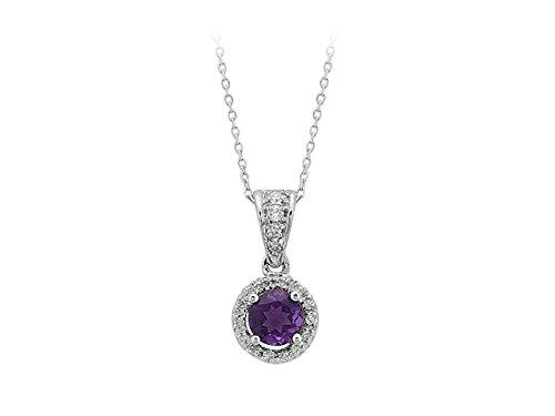 Birgie Diamants et Bijoux - Pendentif Diamants et Améthyste-Femme- or Blanc 201P0011