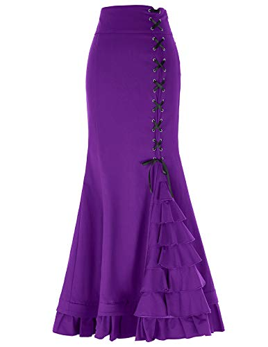 Purple Victorian Steampunk Mermaid Skirt for Women Corset Style L Purple