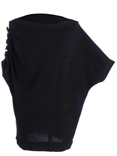 ANNA K S/M Fit Black Side Button Accents Dolman Sleeves Slouchy Style Top for sale Dl0bM6qq