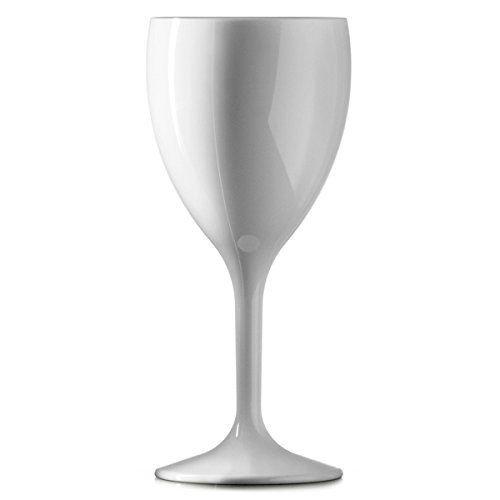 Bicchiere grande da vino in plastica, bianco, 311,8grammi, riutilizzabili, praticamente infrangibili, in policarbonato resistente,12pezzi, qualità gastronomica 8grammi 12pezzi qualità gastronomica BBP