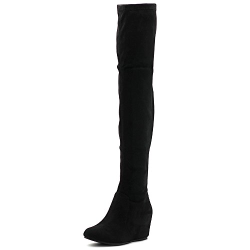 High Faux Thigh Women's Boots Long Shoe Suede Heel Wedge Black Covered Ollio Stretch wHqAC6